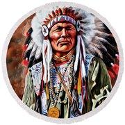 Indian Chief Round Beach Towel