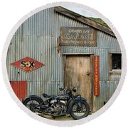 Indian Chout At The Old Okains Bay Garage 1 Round Beach Towel