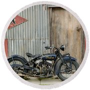 Indian Chout At The Old Okains Bay Garage 2 Round Beach Towel