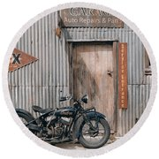 Indian Chout At The Old Okains Bay Garage 3 Round Beach Towel
