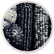 Indian Corn And Squash In Black And White Round Beach Towel