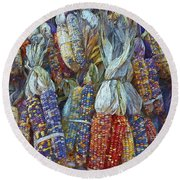 Indian Corn - Fall Colors Round Beach Towel