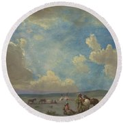 Indian Encampment Round Beach Towel