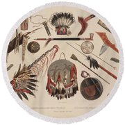 Indian Implements And Arms Round Beach Towel