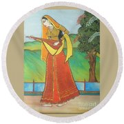 Indian Lady Playing Ancient Musical Instrument Round Beach Towel