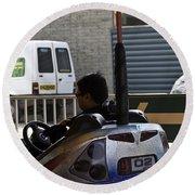 Indian Man Enjoying In A Bumper Cars Ride In An Entertainment Park Round Beach Towel