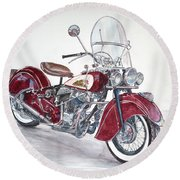 Indian Motorcycle Round Beach Towel