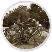 Indian Camelback Motorcycle Circa 1908 Round Beach Towel