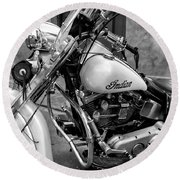 Indian Motorcycle In French Quarter-bw Round Beach Towel