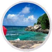 Indian Ocean Moyenne Island Seychelles Round Beach Towel