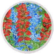 Indian Paintbrush And Bluebonnets Round Beach Towel