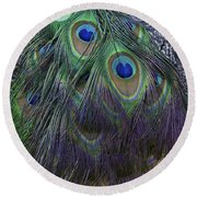 Indian Peacock Round Beach Towel