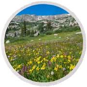 Indian Peaks Wildflower Meadow Round Beach Towel