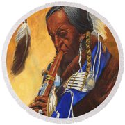 Indian Playing Flute Round Beach Towel