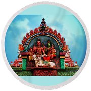 Indian Temple Round Beach Towel