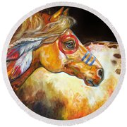 Indian War Horse Golden Sun Round Beach Towel