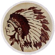 Indian Wise Chief Coffee Painting Round Beach Towel
