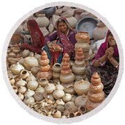 Indian Women Selling Pottery Round Beach Towel
