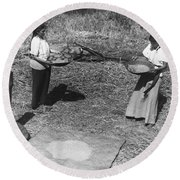 Indian Women Winnowing Wheat Round Beach Towel
