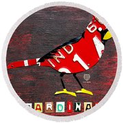 Indiana Cardinal Bird Recycled Vintage License Plate Art Round Beach Towel