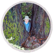 Indiana Jones In Armstrong Redwoods State Preserve Near Guerneville-ca Round Beach Towel