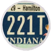 Indiana License Plate Round Beach Towel