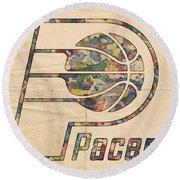 Indiana Pacers Poster Art Round Beach Towel