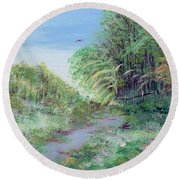 Indiana Spring Afternoon By The Creek Round Beach Towel