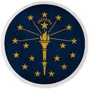 Indiana State Flag Art On Worn Canvas Round Beach Towel