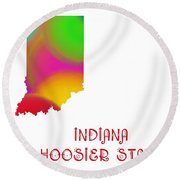 Indiana State Map Collection 2 Round Beach Towel