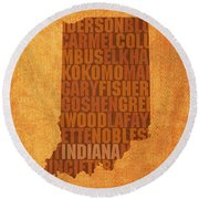 Indiana State Word Art On Canvas Round Beach Towel by Design Turnpike