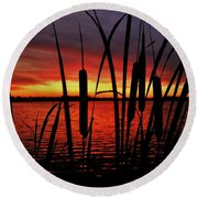 Indiana Sunset Round Beach Towel by Benjamin Yeager