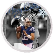 Indianapolis Colts Christmas Card Round Beach Towel
