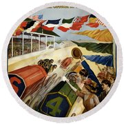 Indianapolis Motor Speedway - Vintage Lithograph Round Beach Towel