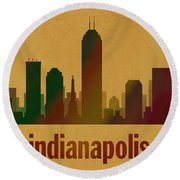 Indianapolis Skyline Watercolor On Parchment Round Beach Towel