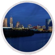 Indianapolis State Capitol And Skyline Round Beach Towel