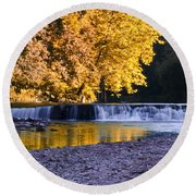 Indianhead Dam - Perkiomen Creek Round Beach Towel
