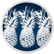 Indigo And White Pineapples Round Beach Towel by Linda Woods