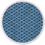 Indigo And White Small Diamonds- Pattern Round Beach Towel