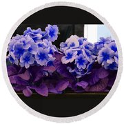 Indigo Flowers Round Beach Towel