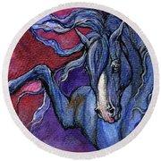Indigo Horse 1 Round Beach Towel