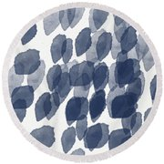 Indigo Rain- Abstract Blue And White Painting Round Beach Towel by Linda Woods