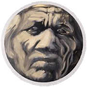 Indio Indian Black And White Oil Painting Round Beach Towel