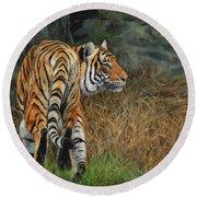 Indo-chinese Tiger Round Beach Towel