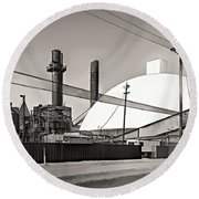 Industrial Art 2 Sepia Round Beach Towel