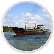 Industrial Cargo Ship Round Beach Towel