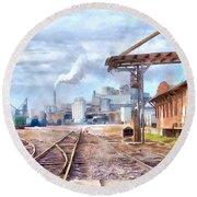 Industrial Railroad Scene  Round Beach Towel