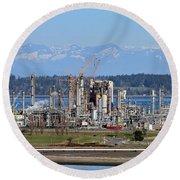 Industrial Refinery Round Beach Towel