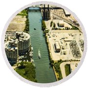 Industrial Riverside Round Beach Towel