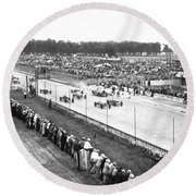 Indy 500 Auto Race Round Beach Towel
